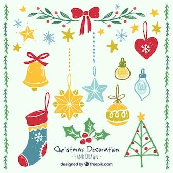 Ustawić ręcznie malowane ozdoby świąteczne