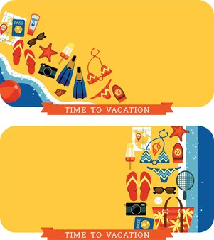 Vector nowoczesny płaski rysunek ilustrujący tradycyjne letnie wakacje.