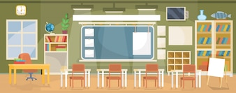Vector płaski ilustracja pustej klasie w szkole, uniwersytetu, kolegium, instytut