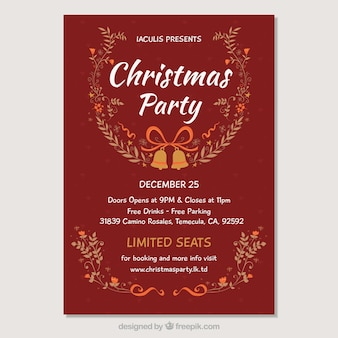 Vintage christmas party plakat