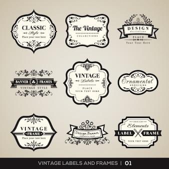 Vintage etykiety i ramki kolekcja