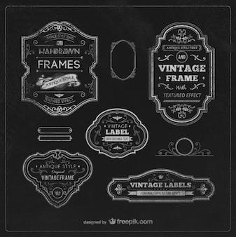 Vintage etykiety i ramki