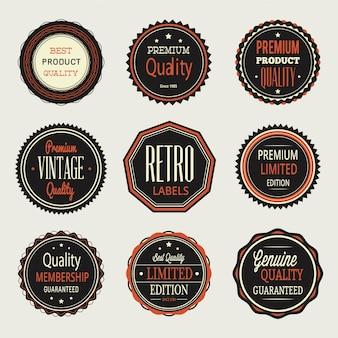 Vintage etykiety, zestaw odznaki