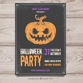 Vintage halloween plakat z dyni