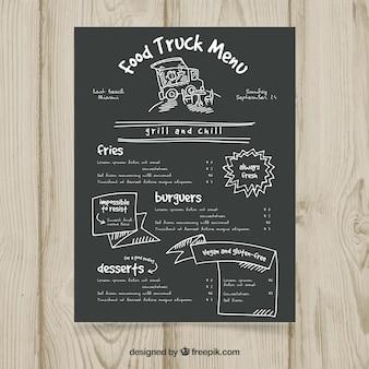 Vintage menu ciężarówek żywności na tablicy