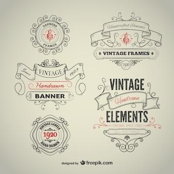 Vintage ręcznie rysowane elementy