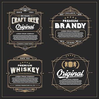 Vintage ramki do projektowania etykiet, banerów, naklejek i innych wzorów. Nadaje się do whisky, piwa i produktów premium.