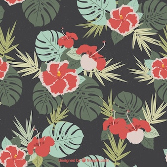 Vintage tło z kwiatami z liśćmi