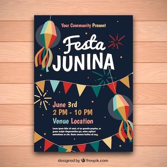 Vintage zaproszenie junina festa