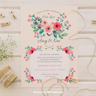 Vintage zaproszenie na ślub z kwiatami akwarela