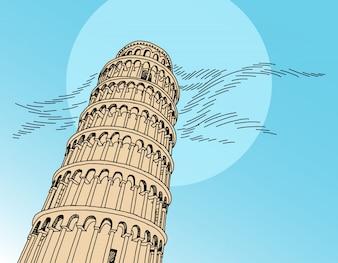 Włochy Pisa Tower ręcznie rysunku ilustracji wektorowych