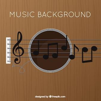 W tle gitara z klucz wiolinowy i nuty