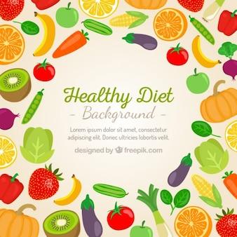 Warzywa i owoce w tle