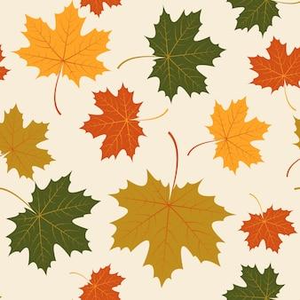 Wektor bez szwu liści klonu jesienią