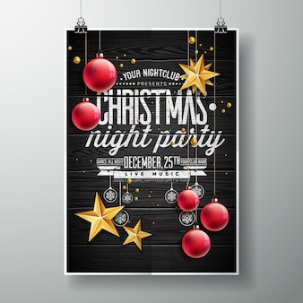Wektor Merry Christmas Party projektu z wakacji typografii elementów i złote gwiazdki na tle zabytkowe drewna.
