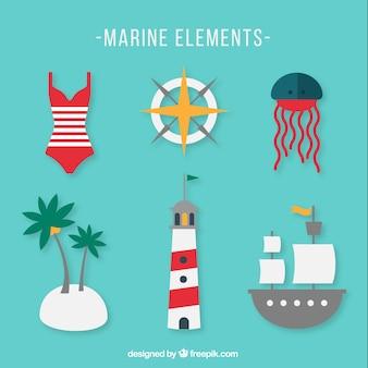 Wektor zestaw elementów morskich