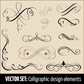 Wektor zestaw elementów projektu kaligraficzne i dekoracji strony. Eleganckie elementy do projektowania.