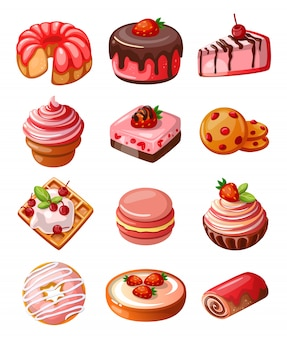Wektor zestaw ikon słodyczy