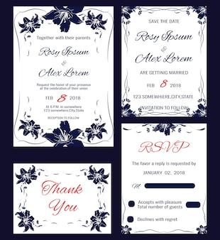 Wektor zestaw kart zaproszenia elementy kwiatów i listów kaligraficznych. Kolekcja ślubna
