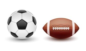 Wektor zestaw kul sportowych, kulki do piłki nożnej i futbolu amerykańskiego w stylu realistycznym