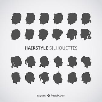 Wektor zestaw profili fryzury
