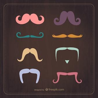 Wektor zestaw rocznika wąsy