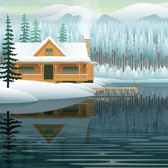 Wektor zimowy krajobraz z górskie jezioro