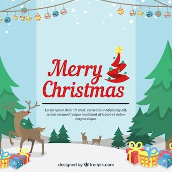 Wesołych świąt tła z sosny i prezenty