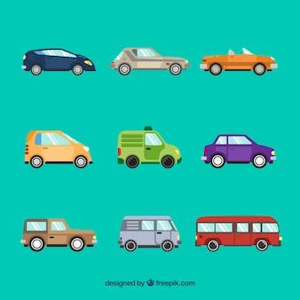 Widok z boku dziewięciu samochodów różnych typów