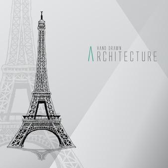 Wieża eiffela ręcznie rysowana