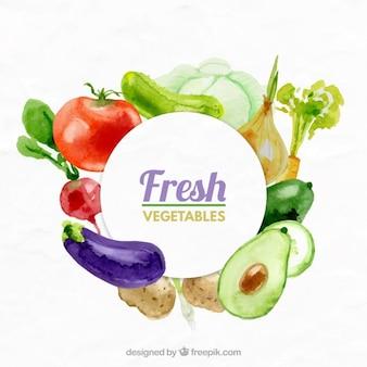 Świeże warzywa w tle