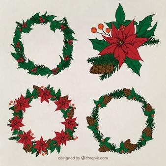 Wielka paczka czterech wieńce świąteczne