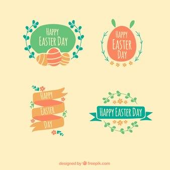 Wielkanoc Zbiór czterech rysowane ręcznie odznaki