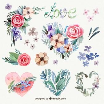Wielki akwarela kwiatowej dekoracji Walentynki
