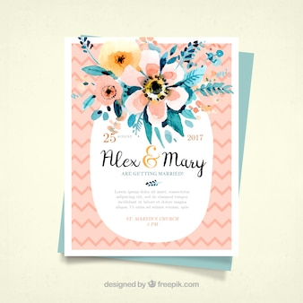 Wielkie zaproszenie na wesele z kwiatami akwarela