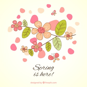 Wiosna jest tutaj karta w stylu szkic