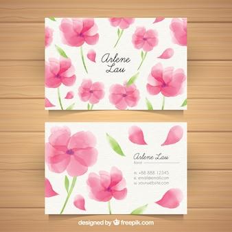 Wizytówka z kwiatami akwarela