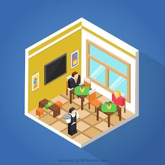 Wnętrze restauracji w trójwymiarowy