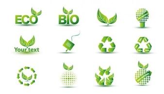 Wolny zielony eko zestaw ikon