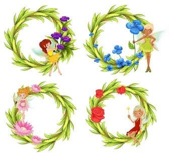 Wróżki latające wokół bukietu kwiatowego