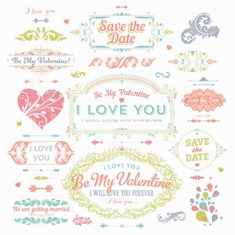 Wstążki cliparty dekoracji miłość rysowane