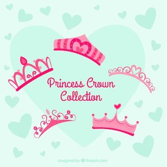 Wybór pięciu księżniczkowych koron w różowych kolorach