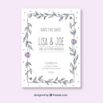 Wyciągnąć rękę zaproszenie na wesele z kwiatów ramki