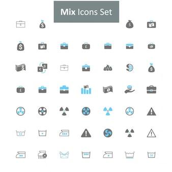 Wymieszać czarny i szary zestaw ikon