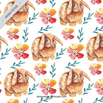 Wzór królików akwarela z elementami kwiatowymi
