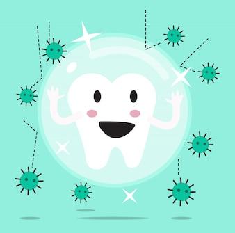 Zęby chronione przed zabrudzeniem lub bakteriami przez ochronę przed barierą