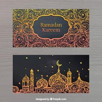 Złote sztandary ramadan kareem