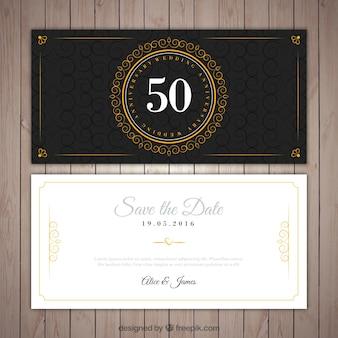 Złoty ślub eleganckie zaproszenia