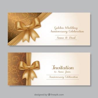 Złoty ślubne zaproszenia rocznicowe