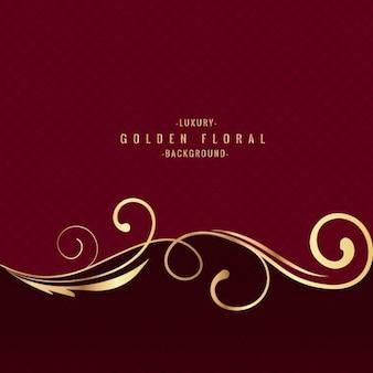 Złoty Floral tło luksus